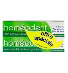 Homéodent Dentifrice dents& gencives arôme chlorophylle 2x75ml
