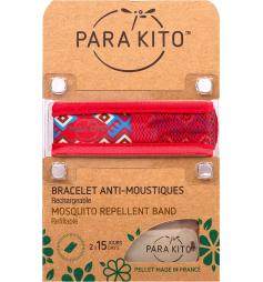 Parakito Bracelet anti-moustiques rechargeable maya rouge