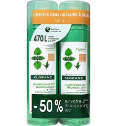 Klorane Shampoing sec ortie cheveux châtains/bruns 2x150ml