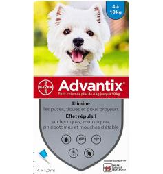 Advantix petit chien4-10kg 4 pipettes